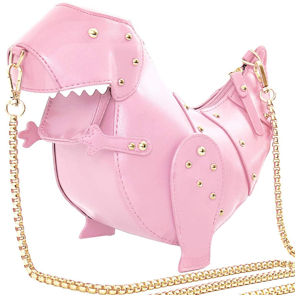 1PC Women Cross Body Bag 3D Dinosaur Shaped Messenger Bag PU Leather Handbag Cosmetic Storage Clutch Mini Shoulder Bag Best Gift For Girls(Pink)