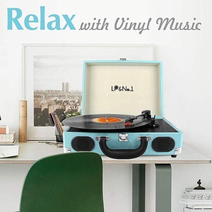 Amazon.com: LP&No.1 - Maleta giratoria para discos de vinilo ...