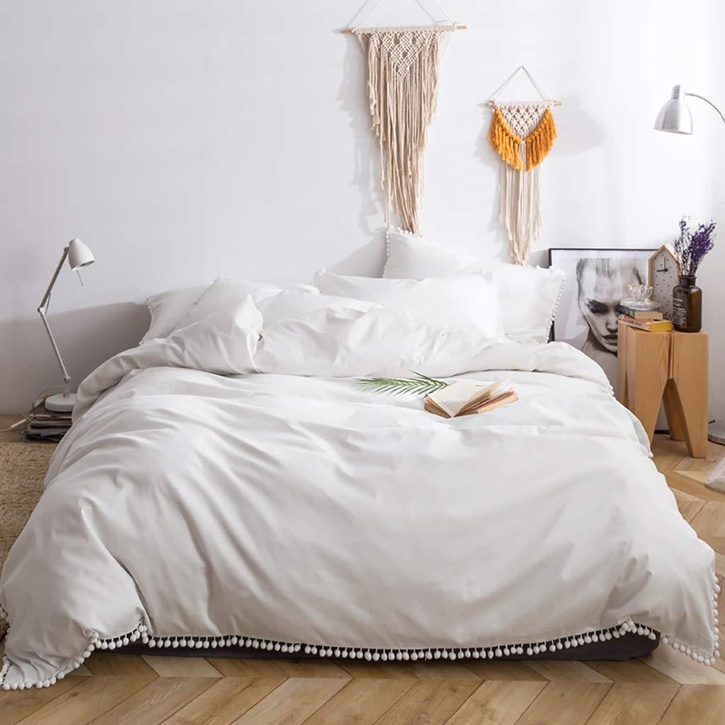 無地の白い色の寝具4ピース1ベッドカバー2枕シャムス1フラット/ベッドシーツ100%ナチュラルロングステープルコットン布団カバーセット隠しジッパークロージャーなしキルト女の子ベッドカバー大人用カバーレット (Size : King) B07SX1VFZ6  King