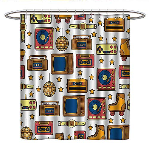 Anshesix 90S Decorationscute Shower curtain90S Theme with Old Style Recorder Stereo Television Roller Skate Shoes Electronic WatchUnique Shower curtainMustard