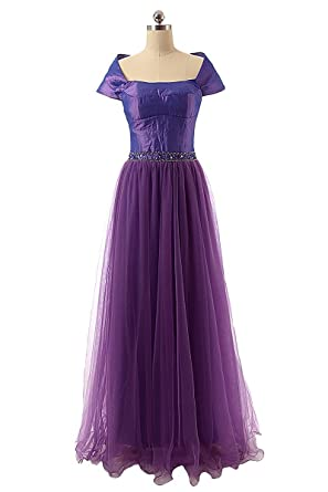 Clearbridal Womens Long Prom Evening Dresses Formal Tulle Ball Gowns with Short Sleeve Purple UK6