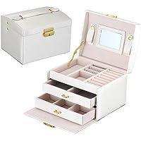 Labellevie Jewelry Box with Lock and Mirror Travel Jewelry Organizer Women Girls
