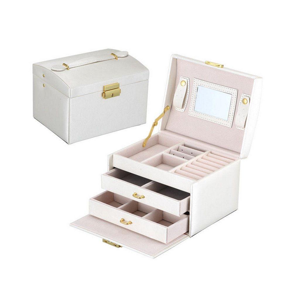 Labellevie Jewelry Box with Lock and Mirror Travel Jewelry Organizer Gift for Women, White J0418W