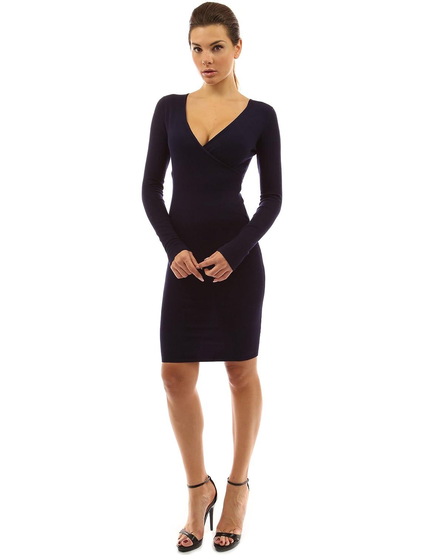 PattyBoutik Women&39s V Neck Long Sleeve Knit Dress at Amazon ...