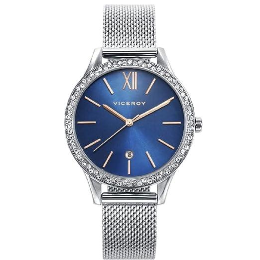 Viceroy 471102-99 Reloj de Mujer Cuarzo Esfera Azul Circonitas Acero Malla Tamaño 32 mm: Amazon.es: Relojes