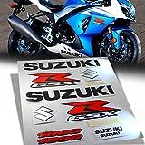 2014 suzuki gsxr 1000 stickers - 10pcs Sticker & Emblem Decal Fairing/Fender Sticker Kit for 09-17 Suzuki GSXR 1000 [Black/Red/Silver]