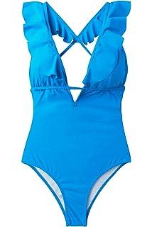 f7ad616ade CUPSHE Women's Falbala One Piece Swimsuit Deep V Neck Monokini Swimsuit