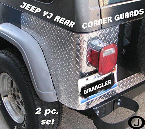 Jeep Yj Wrangler 2 Pc Diamond Plate Rear Body Armor Corner Guard Kit ()