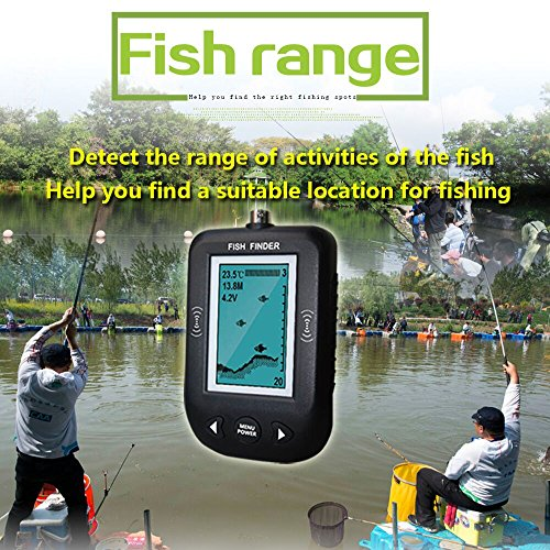 erchang portable fish finder underwater depth locator with fish size temperature shallow water. Black Bedroom Furniture Sets. Home Design Ideas