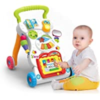 TEMSON Sit & Play (6-12 Months) And Stand & Walk (9-18 Months) Multi-Activity Children Music Walker With Flash Lights, Mirror And Music For Infants Birthday Gifts for 1 Year Boy Girl Early Educational And Developmental Activity Toy For Kids