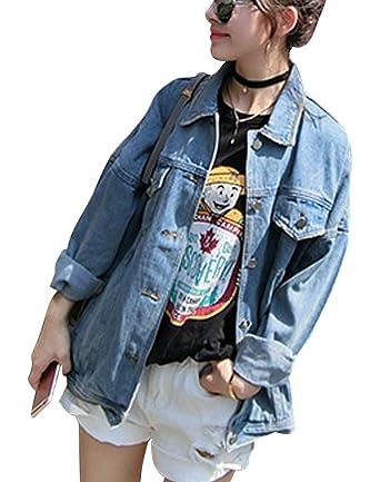 e0bf4d9baa Minetom Women Girls Casual Denim Jacket Loose Fit Oversize Long Sleeve  Light Wash Faded Ripped Boyfriend Style Jean Coat Tops: Amazon.co.uk:  Clothing