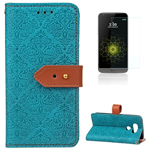 - for LG G5 Leather Wallet Case [Free Screen Protector],KaseHomeVintage Flower Paisley Pattern Design Folio Magnetic Flip Stand PU Leather Protective Case Cover Skin Shell,Blue
