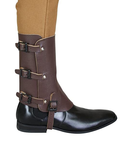 Men's Steampunk Costume Essentials Historical Emporium Mens Deluxe Leather Military Gaiters $49.95 AT vintagedancer.com