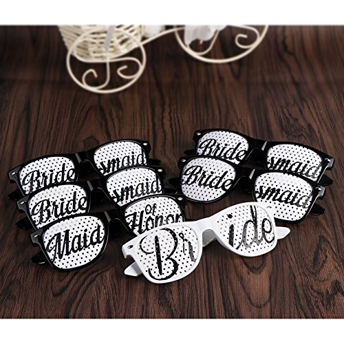 AerWo Bridal Bachelorette Wedding Sunglasses 6 pack, Perfect Wedding Novelty Gifts and Photo Booth for Bridal Shower and Bachelorette Parties. Bridal Party Sunglasses (Novelties Bachelorette Party)