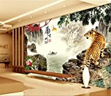 LHDLily 3D Landscape Painting Wallpaper 3D Tv Sofa Background Wall Tigers Warm Living Room Bedroom Animal Mural 300cmX200cm