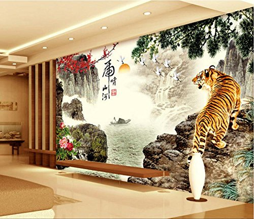 LHDLily 3D Landscape Painting Wallpaper 3D Tv Sofa Background Wall Tigers Warm Living Room Bedroom Animal Mural 300cmX200cm by LHDLily