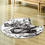 Nalahomeqq Mexican Decorations Collection Art Skull Day of the Dead Catholic Butterfly Rose Flower Holiday Culture Image Pattern Polyester Fabric Room Circle carpet non-slip Gray-Diameter 160cm(63'')