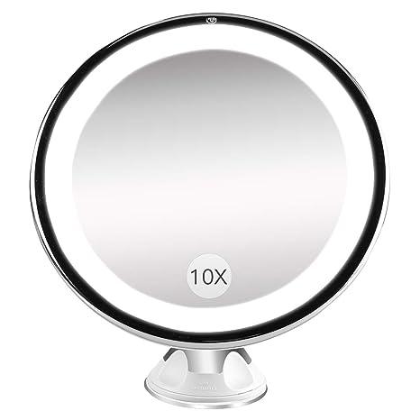Specchi Ingranditori A Ventosa.Specchio Ingranditore Da Trucco Con Luce Led Bestope Specchio Cosmetico Illuminato Ingradimento 10x Con Potente Ventosa Ruota Di 360 Perfetto