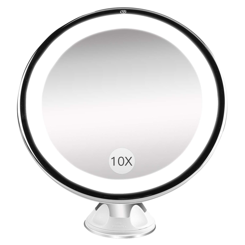 Espejo Baño con Luz y Ventosas, BESTOPE Espejo de Maquillaje 10X Aumento Pared,21