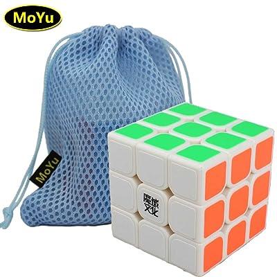 57mm MoYu AoLong V2 Puzzle 3D Magic Cube Vitesse aolong améliorer la version 3x3x3 cube, Venez avec un sac et un support de base comme cadeau (blanc)