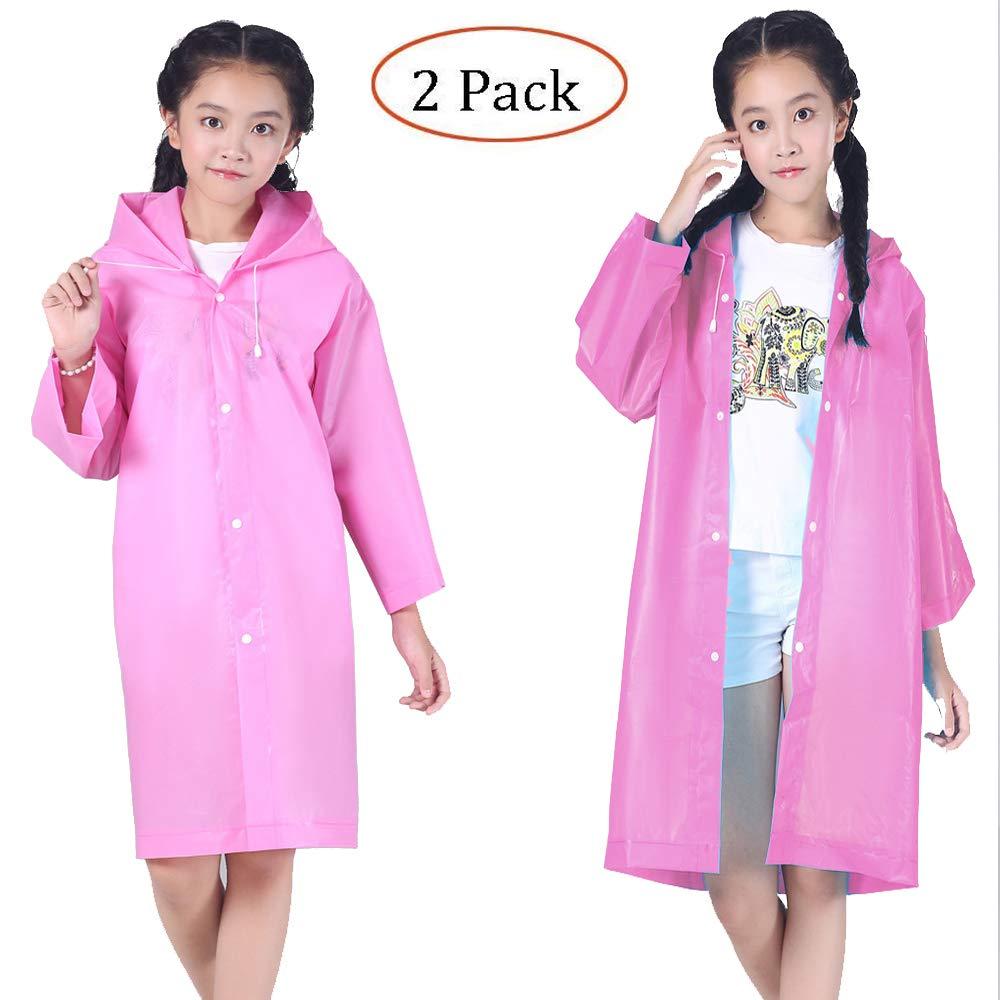 Girls Rain Coat Size 10-12 |Raincoat Rain Poncho Cape Jacket Slicker for Kids [Thicker& Reusable&Lightweight]Emergency Rain&Wind Coat Cloak Wear Gear 6-12 Y/O. Children for Disney World/Rainy Day-Pink Luckyiren PYY-2