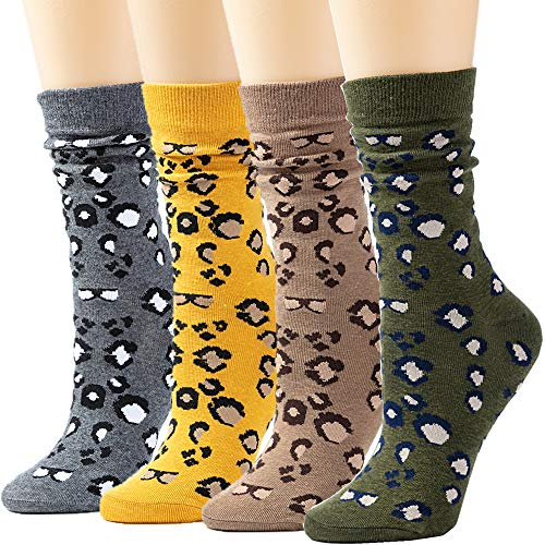 Socks Womens Socks Crew Socks Long Socks Cotton Printed Socks for Women Funny Novelty Socks Cartoon Cute Fashion Knit Socks PackFS-Leopard -