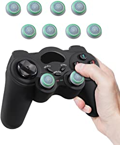 Fosmon [Set of 8] Analog Stick Joystick Controller Performance Thumb Grips for PS4   PS3   Xbox ONE, ONE X, ONE S, 360   Wii U - White & Green (Set of 8)