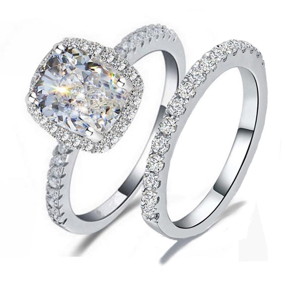 RS7 TOP GRADE 2 CARAT RADIANT EMERALD CUSHION CUT SONA NSCD SIMULATED DIAMOND RING BAND SET SOLID 925 SILVER