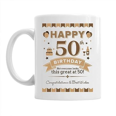Tazza Con Auguri Per Il Cinquantesimo Compleanno Regalo Per I Nati