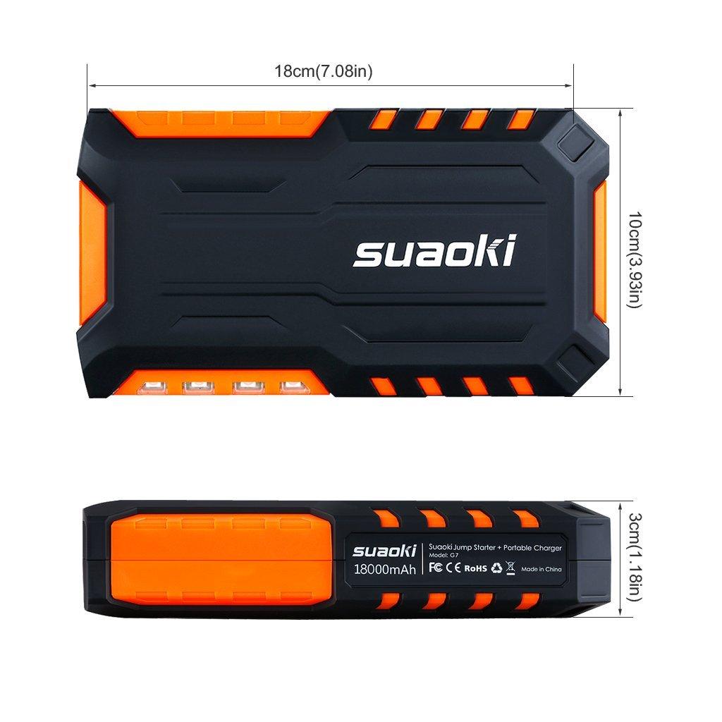 Jump Starter de 18000mAh SUAOKI G7 Plus Multifuncion de Linterna LED, bateria Externa, 80 PSI Mini Bomba compresor de Aire Naranja 600A arrancador de Coche con Mini Compresor de Aire