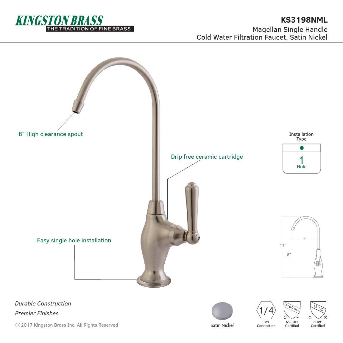 Kingston Brass KS3198NML Magellan Design 1/4 Turn Water Filter Faucet, Satin Nickel