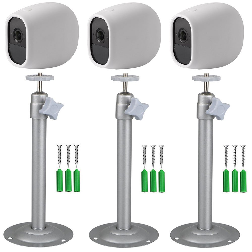 EEEKit 3-pack Security Mental Wall Mount + 3-pack Silicone Skins Protective Cover Case, Adjustable Indoor/Outdoor Mount for Arlo Pro/Pro 2Camera