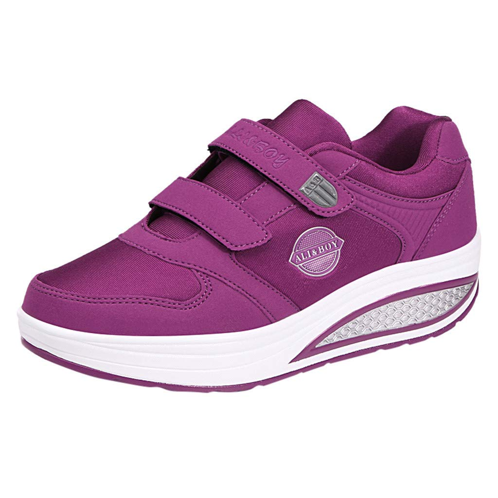 Yiwanjia ◕ˇ∀ˇ◕ Women's Thick Slip-On Casual Walking Wedges Shoes Breathable Work Shake Sneakers (US:5.5,Purple) by Yiwanjia-Shoes