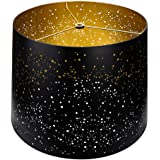 Metal Etching Process Large Lamp Shades, Alucset Drum Big Lampshades for Table Lamp and Floor Light, Sky Stars Design, 12x14x