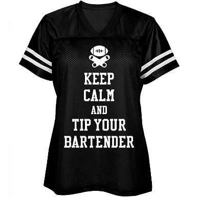 946b6da48 Amazon.com: Keep Calm Tip Bartenders: Misses Fit Mesh Football ...
