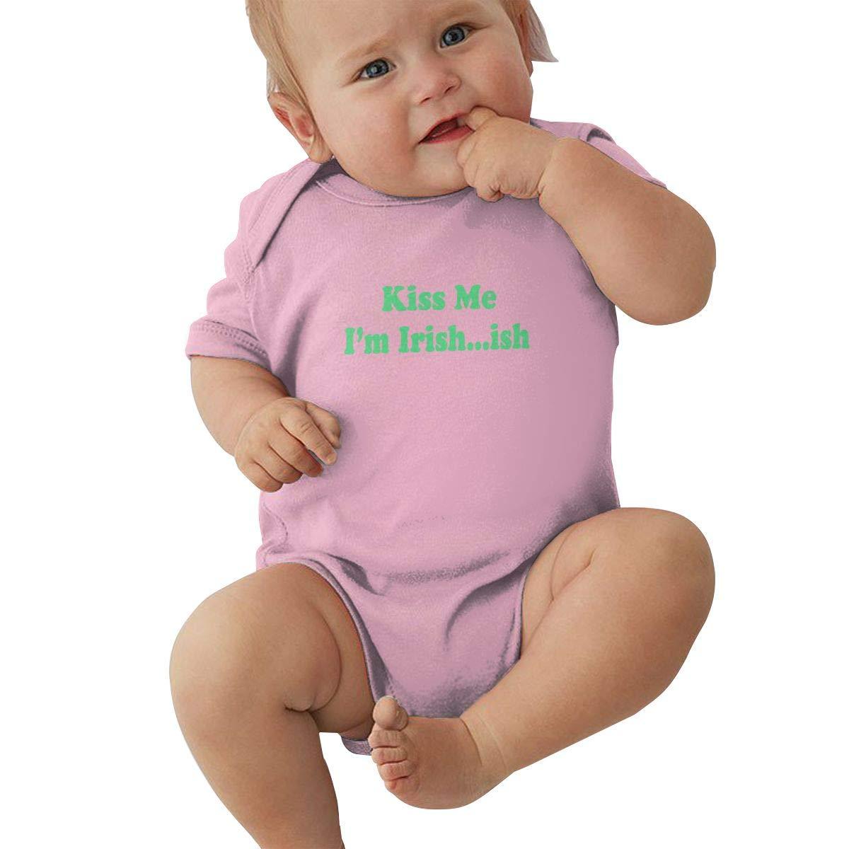 Newborn Baby Girls Bodysuit Short-Sleeve Onesie Im Irish-ish Print Rompers Autumn Pajamas