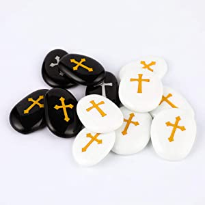 "50PCS Cross RockImpact Engraved Glass Worry Stones Pebble Marble Gems Table Scatter Aquarium Decor Vase Beads Inspirational Faith Appreciation Gratitude Healing Rocks Wholesale Cross Rocks, 2"" ea"