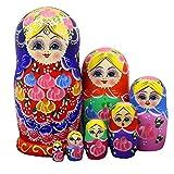 7pcs Blue Shawl Girl Nesting Dolls Russian Matryoshka Toys Best Christmas Gifts