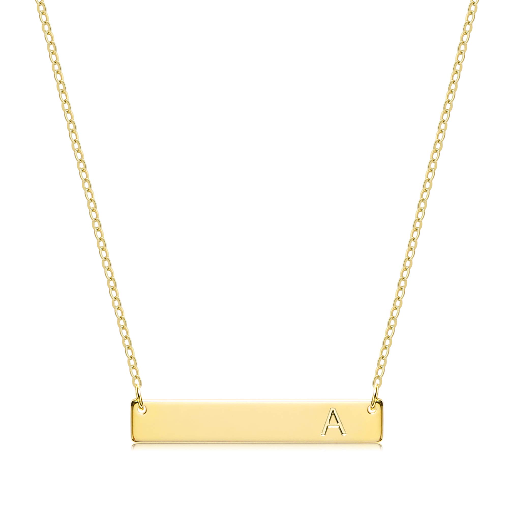 S.J JEWELRY Alphabet 26 A-Z Letter Initial Necklace 14k Gold-Plated Bar Necklace Engraved Name Necklace Personalized Letter Monogram Pendant Necklace for Women Girls