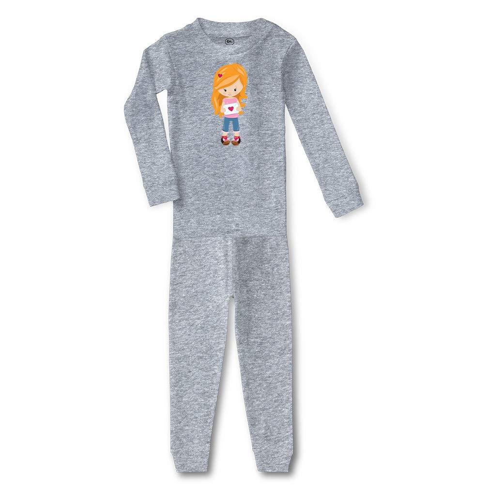 Valentine Girl Letter Blonde Cotton Boys-Girls Sleepwear Pajama 2 Pcs Set