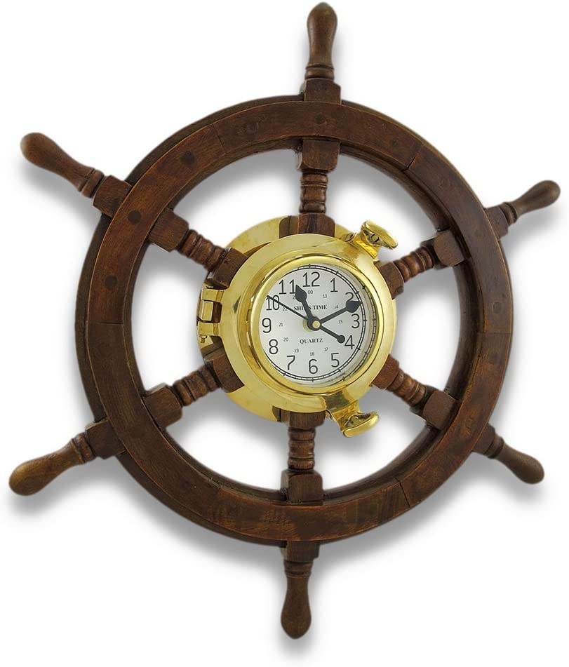 Nautical Oak Ship s Wheel Brass Porthole Wall Clock 18 In.