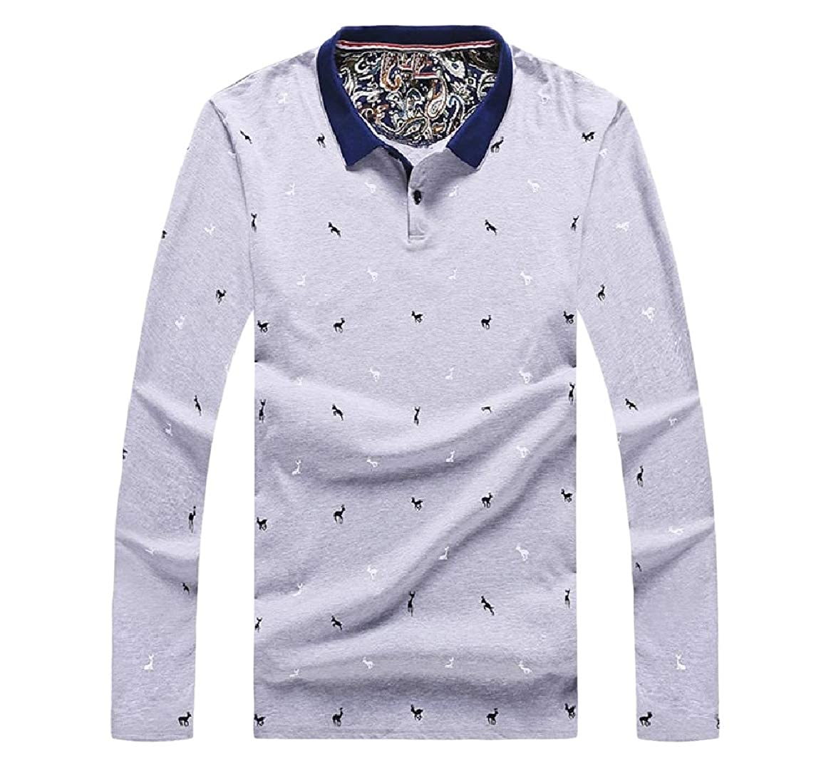 Comaba Mens Formal Plus-Size Printed Classic-Fit Slim Fit Polo Shirt
