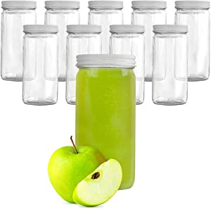8 Oz Glass Bottles With Lids, 10 Glass Juice Bottles For Juicing With White Metal Caps, Bulk Glass Smoothie Containers