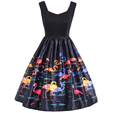 1b3830b5c06 Elfremore Flamingo Floral Print Vintage Dress Sleeveless Swing Midi Dress  Plus Size