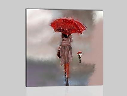 Cuadros Modernos pintados a mano aceite sobre lienzo cuadro moderno mujer con paraguas – Rain