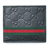 Gucci Black Red GG Green Leather Wallet Guccissima style Box New Tricolor...