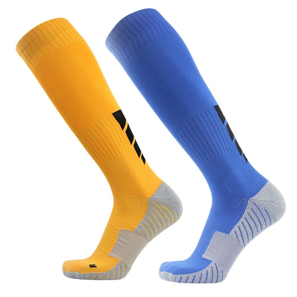 サッカーソックス、3streetユニセックスアスレチック圧縮ソックス1 / 2 / 3 / 4 / 6 / 10ペア B017N4Y4A2 M(Fit For US 8-12)|2-Pairs yellow Blue 2-Pairs yellow Blue M(Fit For US 8-12)