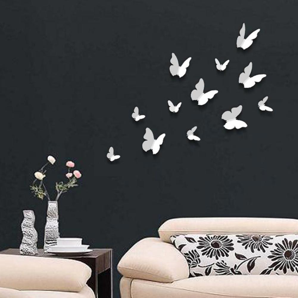 Walplus Autocollants Muraux 12pcs Papillons Blancs 3D Am/élioration D/éco