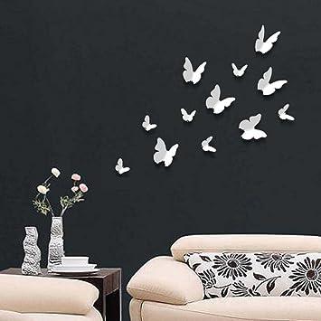 Amazon.de: Walplus - 12 Stück 3D Weiße Schmetterlinge Wand Sticker ...