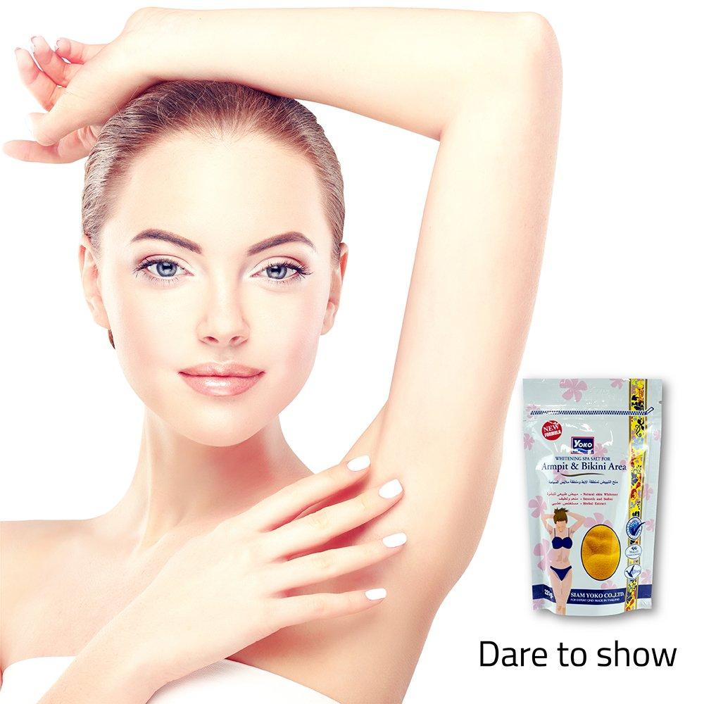 Amazon.com : YOKO Whitening Spa Salt For Armpit & Bikini Area 220g. White : Beauty